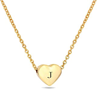 18K Gold Pleated Stainless Steel Heart Initial Necklace - Small Pendant with Black Letter Gift for Women Child Kids Necklace Jewelry