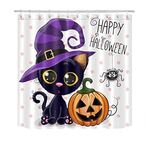 LB Halloween Pumpkins Shower Curtain Set Cartoon Cat Magic Hat Dots Bathroom Curtain Party Decor,Bath Curtain Hooks Include,72x72 inch Waterproof Polyester Fabric