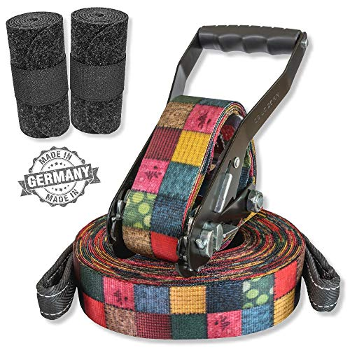 BUZZARD Patchwork 15m - Slackline-Set mit Baumschutz 120 cm - Made in Germany