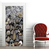 Puerta Pegatinas Mural Piedras En El Agua 3D Door Sticker Wallpaper Desmontable Sticker Poster Diy Autoadhesivo Papel Tapiz para Cocina Sala de Baño Decorativos