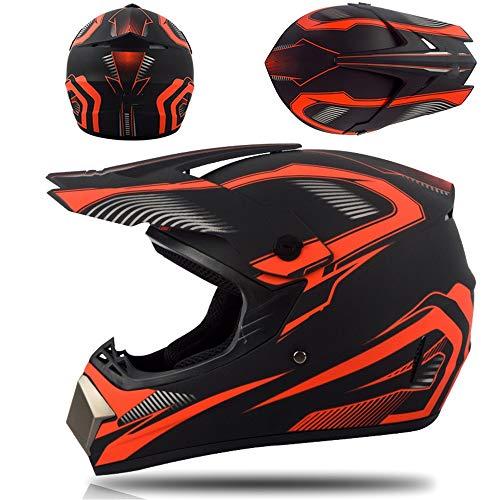 Casco profesional de motocross, ideal para descensos en motos de cross, de cara completa, incluye gafas, guantes y máscara, adecuado para adultos y niños