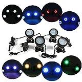 4 focos de luz sumergible para acuarios, fuentes o estanques, de plástico ABS, color negro
