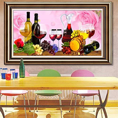 5D DIY Kit de Pintura de Diamante Taladro Completo Adultos/Niños, Vino rosado Bordado Diamond Painting Punto de Cruz Mosaico Lienzo Artística, para decor de la pared del hogar Square drill,80x160cm