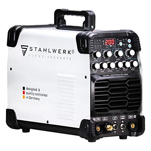 STAHLWERK AC/DC WIG 200 Puls ST Schweißgerät mit 200 Ampere WIG MMA viele Schweißparameter einstellbar, ALU Dünnblech geeignet, 7 Jahre Garantie