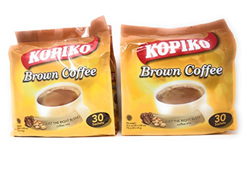 2 Packs Kopiko Instant 3 in 1 Brown Coffee - 30 Packets/Bag (26.5 Oz)