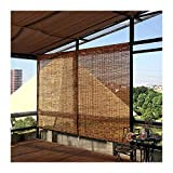 ZXCVBNAS Carbonization Natural Reed Roller Curtains, Bamboo Blinds, Roll Up Blinds, Privacy, Sun Shades, Waterproof, Ventilation, Anti-UV, for Windows/Porches, Indoor/Outdoor,65x200cm/26x79in