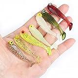 LIZHOUMIL 10 unids/pack de señuelos de pesca de cola suave señuelos de pesca de PVC artificial de silicona suave cebo de pesca conjunto 5.5cm1.5g...