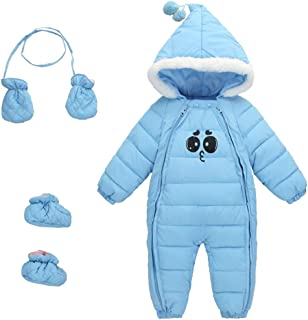 Uobzyaq Baby 3 Piece All in One Hooded Puffer Winter Thick Down Snowsuit Jumpsuit Set