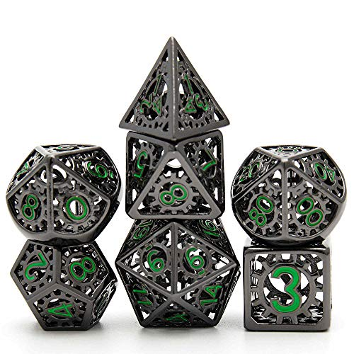 Metal Dice Set D&D, Dungeon and Dragon Dice Set, Punk Style Gear Digital Rainbow Unique Polyhedral Game RPG DND Metal Dice Set