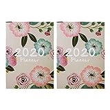 STOBOK Paquete de 2 2020 Planificador Diario Semanal Planificador Mensual Agenda Anual A4 Cuaderno de Portada Floral (Beige)