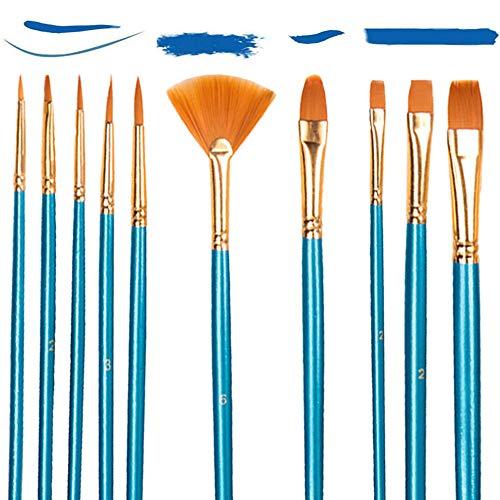 Set di 10 Pennelli Acrilici per Pittura artistica,Nylon Pennelli Sintetici per Dipingere Pittura Acrilica, Acquerello, Pittura ad olio per Principianti, Artisti, Bambini