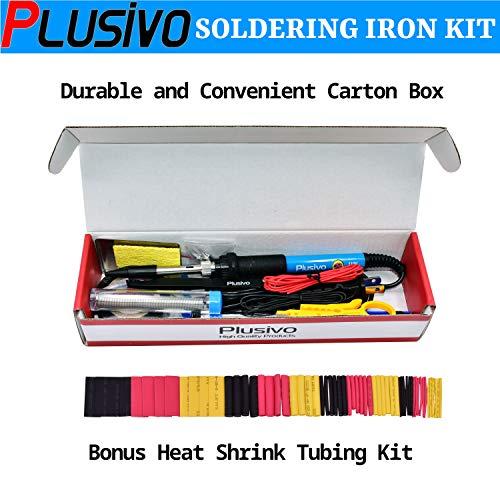 Soldering Iron Kit Electronics, Soldering Iron 60W Adjustable Temperature, Solder Wire, Wire Stripper, Desoldering Pump, Tweezers, Solder Tips, Mini Stand, Screwdrivers, Heatshrink Tubes from Plusivo