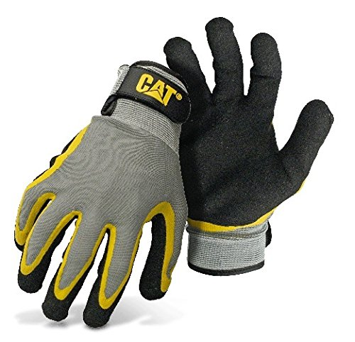CAT CAT017415L Double Coated Textured Latex Palm with Black and Yellow Fingers with a Gray Polyester Back. Size Large -  Caterpillar Gloves & Accessories