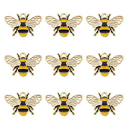 Pack of (x16) Enamel Paint Gold Alloy Charms Honey Bee Shaped Craft for Bracelets Earrings Necklaces Pendants DIY Jewellery Making Accessories Approx.26x17mm