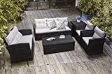 Asifom 6 Piece 7 Seats Outdoor Patio Furniture Conversation Sets PE Rattan Wicker Sectional Sofa Loveseat Chair Seating Group with Cushions and Table