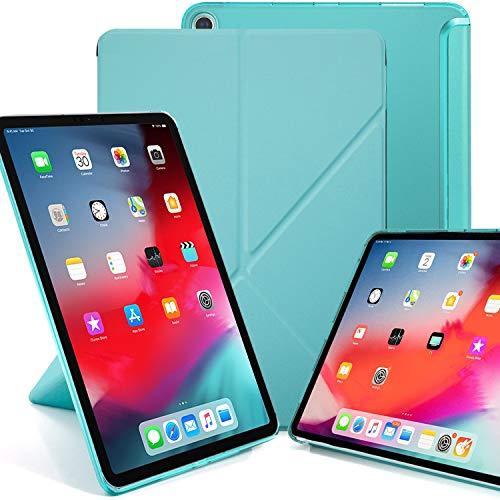 KHOMO iPad Pro 12.9 2018 Smart Cover Schutzhülle mit Halbdurchsichtiger Silikonrückseite und Origami Aufstellungsmöglichkeiten - Minzgrün