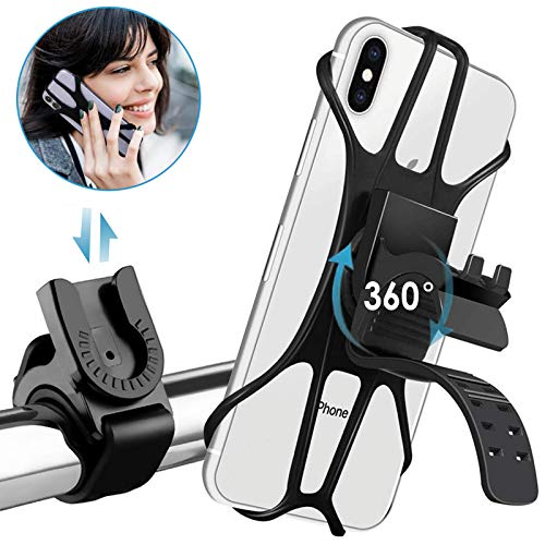 Zommuei Soporte Movil Bici, Soporte Movil Moto Desmontable 360°Rotación Anti Vibración Porta Telefono Motocicleta Soporte para iPhone Samsung LG HTC Motorola Xiaomi Huawei GPS y Otro 4.0-6.5