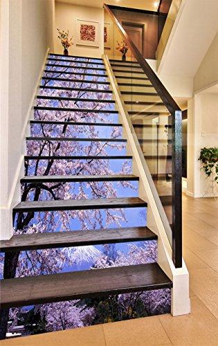 3D Berg Fuji Kirschblüten 5 Stair Risers Dekoration Fototapete Vinyl Aufkleber Tapete DE Carly (13x H:18cm x W:102cm (7
