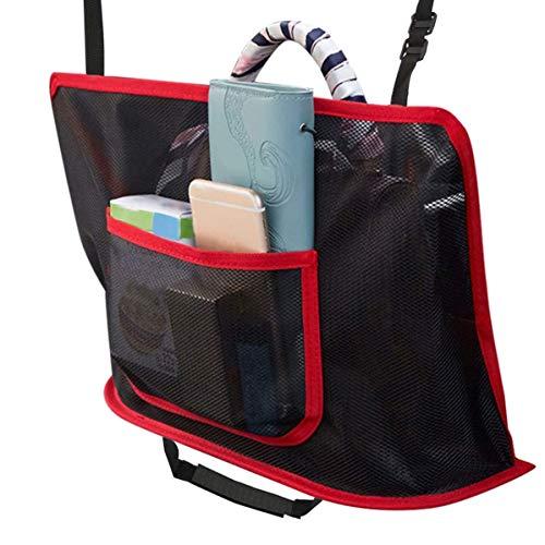 Car Cache - Pocket Handbag Holder Car Net Seat Back Organizer Mesh Large Capacity Bag for Purse Storage Phone Documents Pocket, Barrier of Backseat Pet Kids - Driver Storage Netting Pouch(Red)
