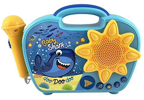eKids Baby Shark Sing Along Boombox with Microphone for Kids Includes Built-in Baby Shark Song Flashing Lights Connects to MP3 Player