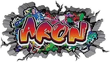 3D Muurtattoo graffiti-muursticker naam ARON muurdoorbraak sticker Boy zelfklevend muursticker jongenddeco kinderkamer 11M...