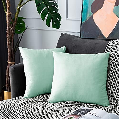 UPOPO Juego de 2 fundas de cojín de terciopelo, decorativas, de un solo color, suave, con cremallera, 45 x 45 cm, color azul claro