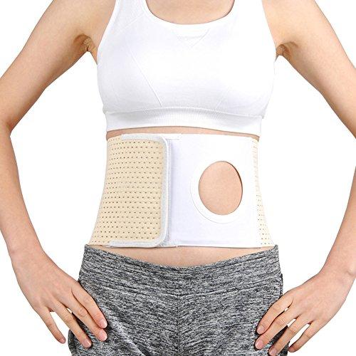 Whiidoom Elastic Ostomy Hernia Belt for Waist Abdominal with Stoma Opening (XL, Beige)
