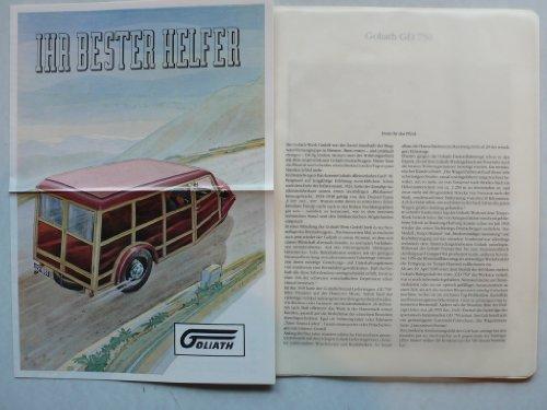 Prospekt/brochure - Goliath GD 750 Dreirad Lieferwagen in Hülle + 1 Seite Text - Top-Faksimile 1989