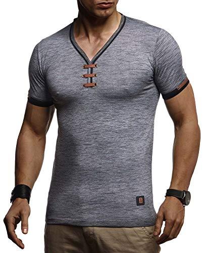Leif Nelson Herren Sommer T-Shirt V-Ausschnitt Slim Fit Baumwolle-Anteil Basic Männer T-Shirt V-Neck Hoodie-Sweatshirt Kurzarm lang Weißes Jungen Shirt Kurzarmshirts LN4890 Anthrazit Medium