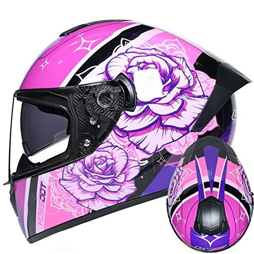 RTGE Erwachsene Motorrad-Integralhelm DOT-zertifizierter atmungsaktiver Sturzhelm mit Doppellinse für 4-Jahreszeiten-Straßenmotorradrennen Sport & Frau Stadt Pendlerin (Pinke Rose),A,55~56cm S