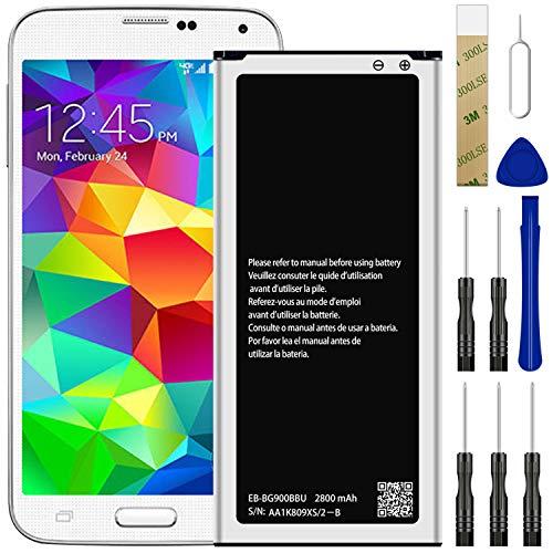 for Verizon Samsung Galaxy S5 SM-G900V Replacement Battery,for EB-BG900BBU/EB-BG900BBC/EB-BG900BBE/EB-BG900BBZ Battery with Adhesive Tape Tool Repair Kit