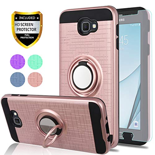YmhxcY Galaxy J5 Prime Case, Galaxy On5 (2016 Version) Case with HD Screen Protector, 360 Degree Rotating Ring & Bracket Dual Layer Shock Bumper Cover for Galaxy J5 Prime-ZH Rose Gold