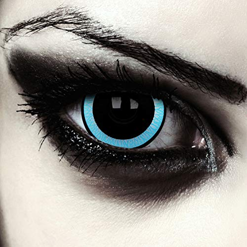 "Designlenses, mini sclera lentillas de colores negro y azul para Halloween costume 17mm lentes de tres meses sin dioprtías/corregir + gratis caso de lente ""Galactic"