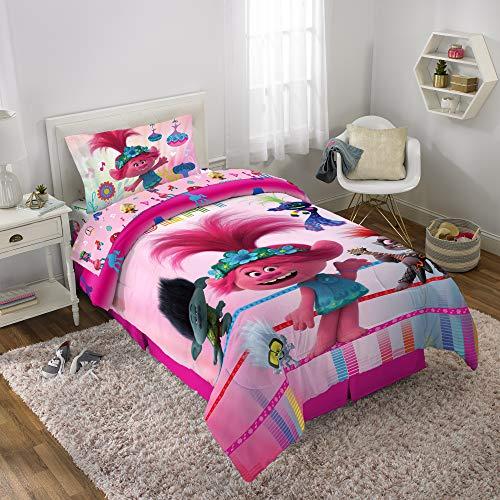 Trolls 2 World Tour Full Comforter, Sheets & Bonus SHAM (6 Piece Bed in A Bag) + Bonus Trolls Mini Figure