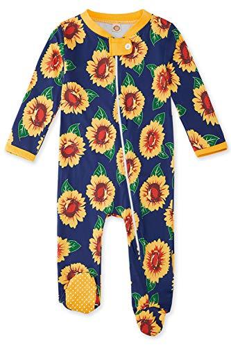 Funnycokid Baby Kinder Jungen Mädchen Strampler Sonnenblume Grafik Reißverschluss Overall rutschfeste Footies One-Pieces Suite Schöne Grafik für 9-12 Monate