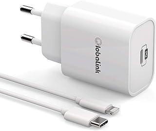 GlobaLink Cargador Rapido iPhone MFi Certificado, 18W Cargador de Pared USB C + 2M Cable USB C a Lightning - Power Delivery 3.0 Carga Rápida para iPhone SE2020/11ProMax/11Pro/11/XsMAX/XS/XR/X/8