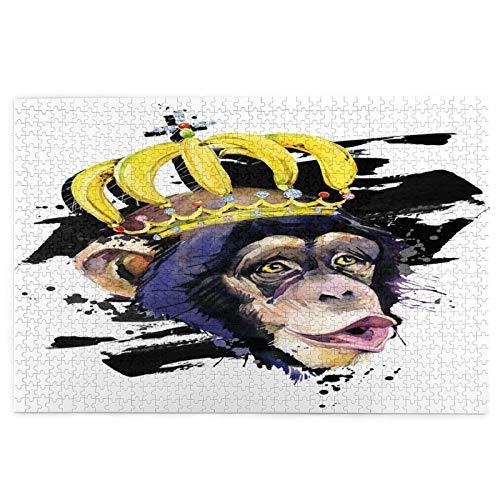 Rompecabezas de 1000 Piezas,Rompecabezas de imágenes,Corona Mono Gracioso Dibujado A Mano Acuarela,Juguetes Puzzle for Adultos niños...