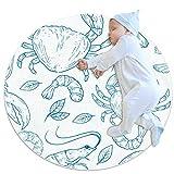 Alfombra lavable niños círculo alfombra niños dormitorio alfombra círculo baño alfombra decorativo alfombra baño baño alfombra dibujado a mano natural marisco langosta cangrejo gambas