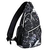 MOSISO Sling Backpack,Travel Hiking Daypack Pattern Rope Crossbody Shoulder Bag, Black Marble