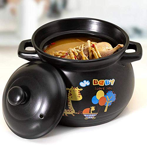 YFMMM Enameled Cast Iron Dutch Oven, 3.8L with Lid Covered Non-Stick with Loop Handles Pre-Seasoned Pot Versatile Healthy Design, 4-Quart,Black