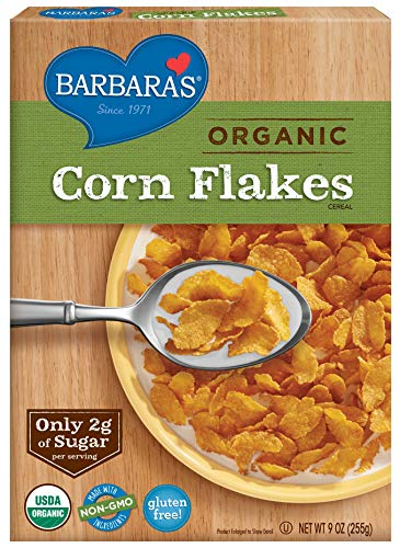Barbara's Organic Corn Flakes Cereal, 9 oz Box, Gluten Free, Vegan, 9 Oz Box (Pack of 6)
