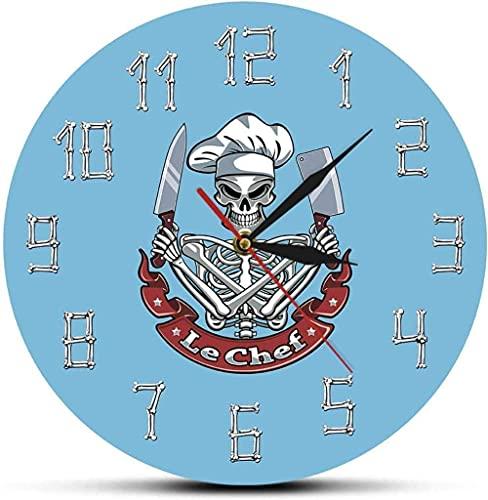 Reloj de pared Cocina Cráneo Cocinero Reloj de pared moderno Reloj Esqueleto con sombrero de chef Cuchilla Cuchilla Restaurante francés Decoración de cocina Regalo divertido de chef Adecuado para sala