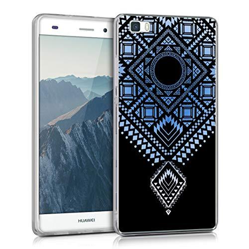 kwmobile Cover Compatibile con Huawei P8 Lite (2015) - Back Case Custodia Posteriore in Silicone TPU per Smartphone - Backcover Rombi aztechi Blu Chiaro/Bianco/Trasparente