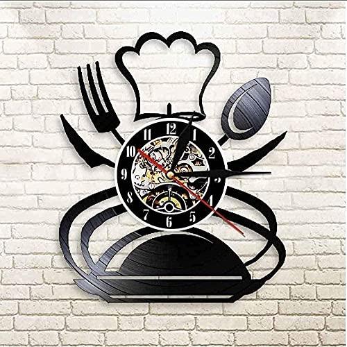 WYDSFWL Reloj de Pared Retro Tenedor Cuchillo y Cuchara Cocina Arte de la Pared Reloj de Pared Diseño de Cubiertos Restaurante Decoración de la Pared Vajilla