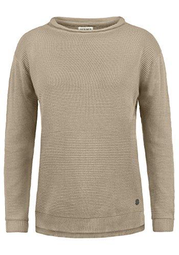DESIRES Rolli Damen Winter Strickpullover Troyer Grobstrick Pullover, Größe:M, Farbe:Simple Taupe (0162)