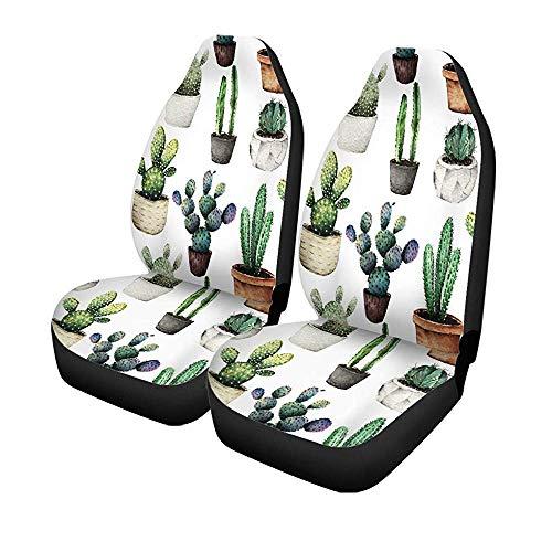 Beth-D set met 2 stoelhoezen voor autostoelen, cactus, groen, bloempotten, voor voorstoelen, universele bescherming, 14-17 inch