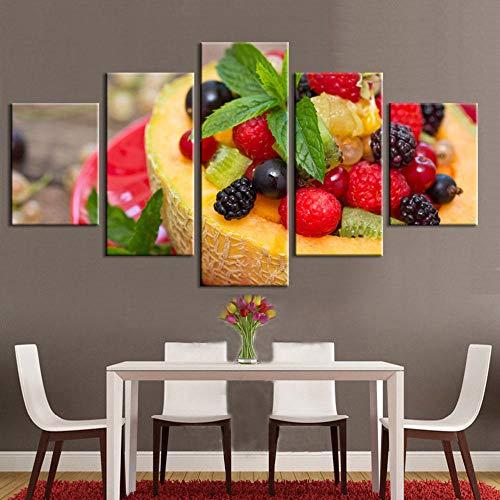 MSDEWLH 5 schilderijen op canvas, muurkunst, plant, fruit, meloen, framboos, fotodruk, decoratie voor woonkamer, modulaire of Manifesto 12x16in 12x24in 12x32in