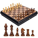 Iahshion Juego de ajedrez, 40X40 CM Juego de Tablero de ajedrez Internacional de Viaje de Madera Plegable estándar para Todas Las Edades