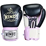 Windy Leather Muay Thai Training Sparring Gloves, 12-Ounce, Red