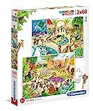 Clementoni- Supercolor Puzzle-Au Zoo-2 x 60 piéces- 21603